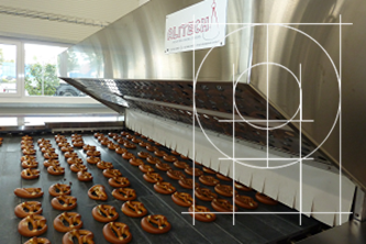Tunnel oven Alitech for pretzel outfeed view